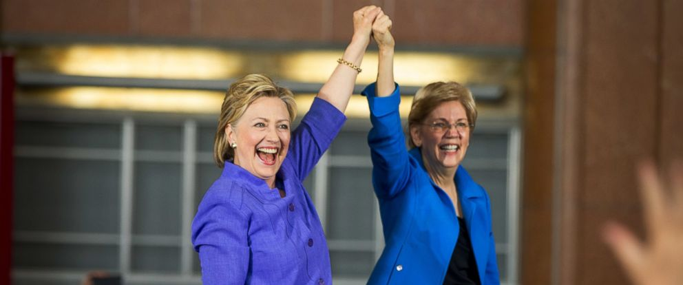PHOTO: Democratic presidential candidate Hillary Clinton, accompanied by Sen. Elizabeth Warren, D-Mass., arrives to speak at the Cincinnati Museum Center at Union Terminal in Cincinnati, June 27, 2016.