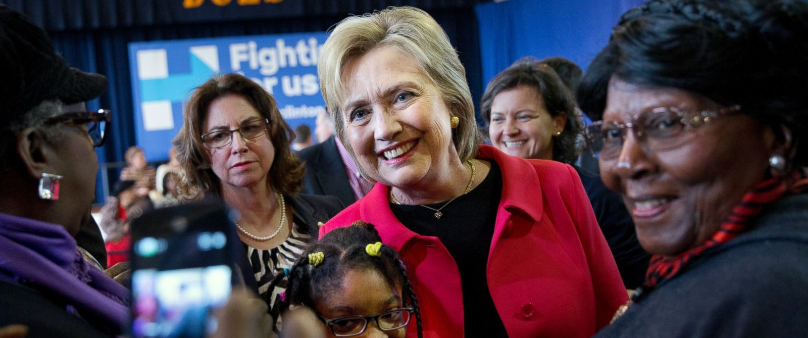 PHOTO: Democratic presidential candidate Hillary Clinton takes a photograph with Jordan Daniels, 11, of Denmark, S.C., during a town hall meeting at Denmark Olar Elementary School in Denmark, S.C., Friday Feb. 12, 2016.