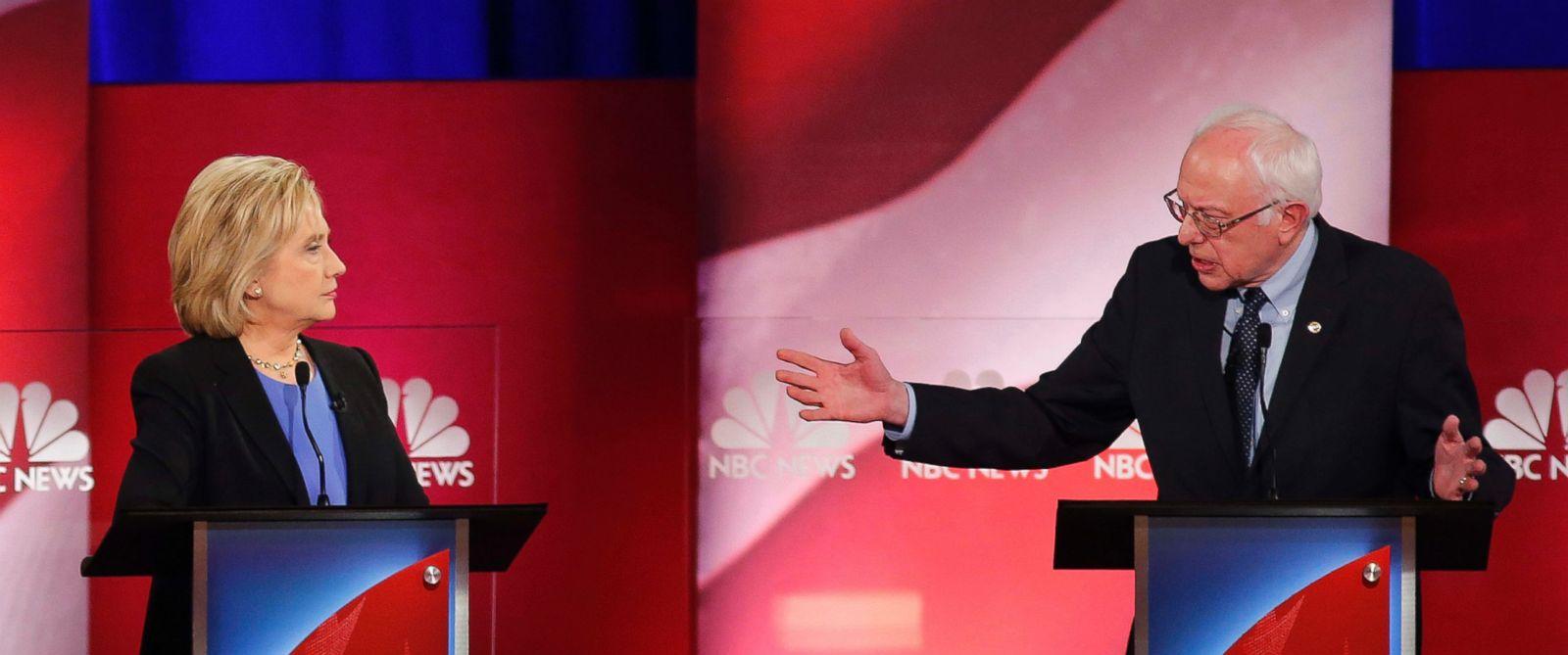 PHOTO: Sen. Bernie Sanders, gestures towards former Secretary of State Hillary Clinton during a democratic presidential primary debate at the Gaillard Center, Jan. 17, 2016, in Charleston, S.C.