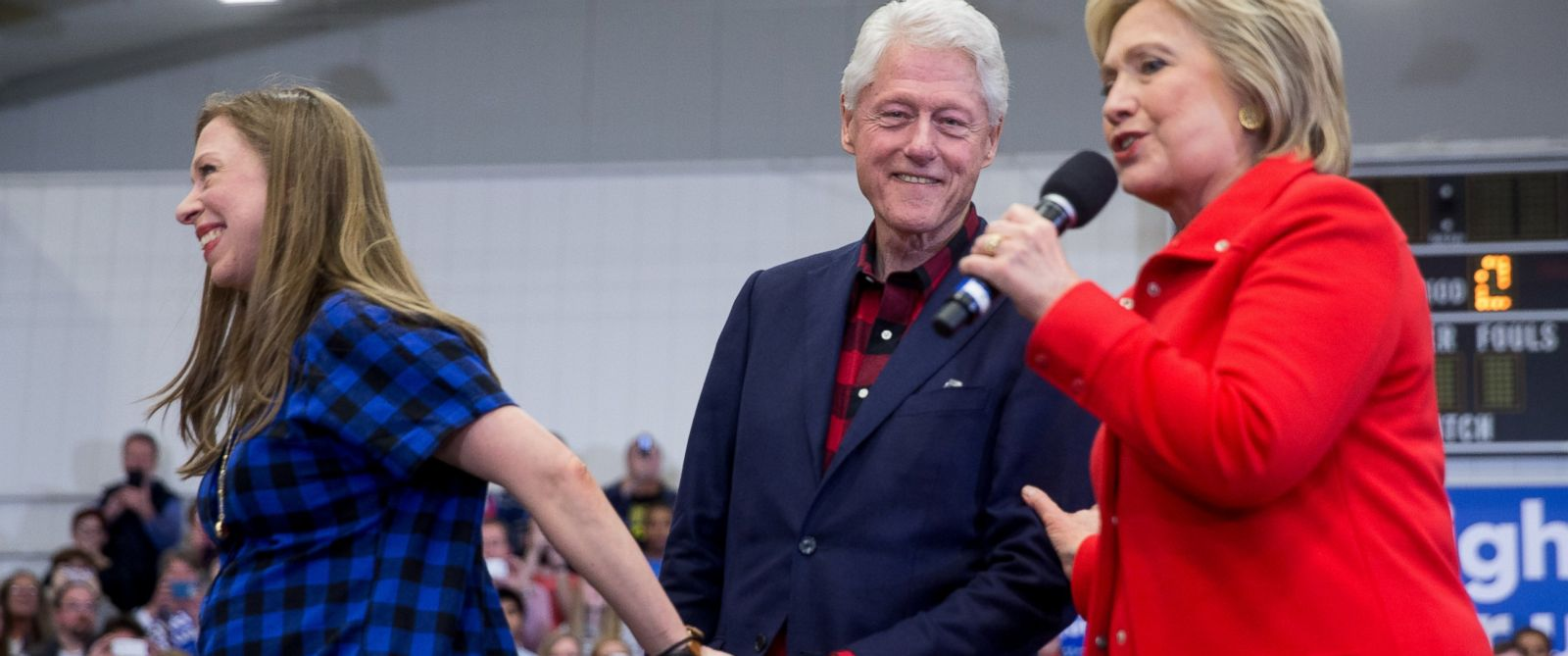 PHOTO: Former President Bill Clinton, center, and daughter Chelsea Clinton step off the stage as Democratic presidential candidate Hillary Clinton arrives to speak at a rally at Washington High School in Cedar Rapids, Iowa, Saturday, Jan. 30, 2016