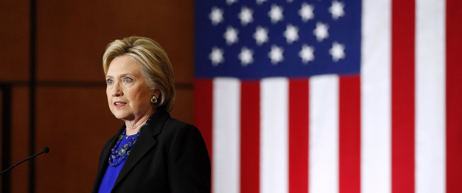 Democratic presidential candidate Hillary Clinton delivers a speech at the University of Wisconsin in Madison, Wis., March 28, 2016.