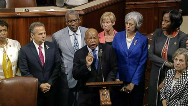 PHOTO: Democrats shut down the House's legislative work on Wednesday, June 22, 2016, staging a sit-in on the House floor and refusing to leave until they secured a vote on gun control measures before lawmakers' weeklong break.