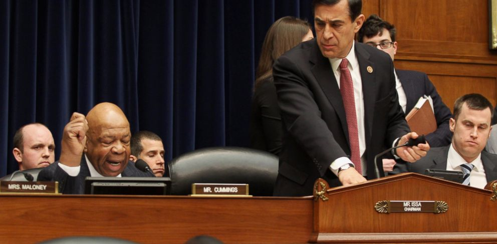 PHOTO: House Oversight and Government Reform Committee Chairman Rep. Darrell Issa, R-Calif., right, leaves as the committees ranking member Rep. Elijah Cummings, D-Md., left, begins his statement on Capitol Hill in Washington, March 5, 2014.