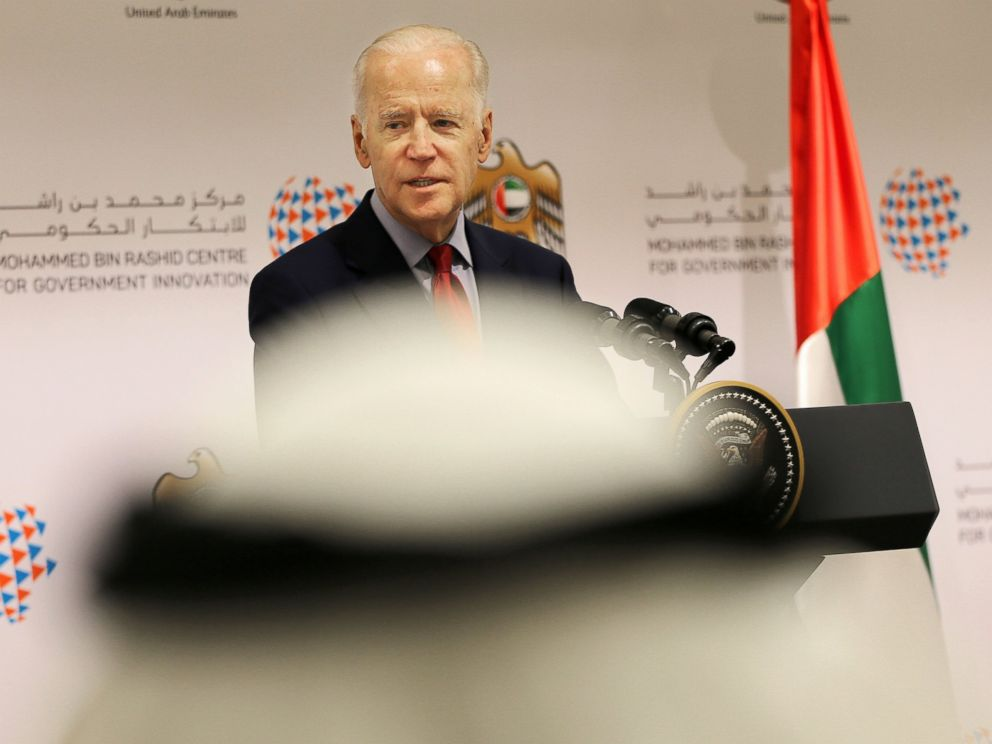 PHOTO: U.S. Vice President Joe Biden speaks during a conference with young Emirati entrepreneurs on March 8, 2016 in Dubai, United Arab Emirates.