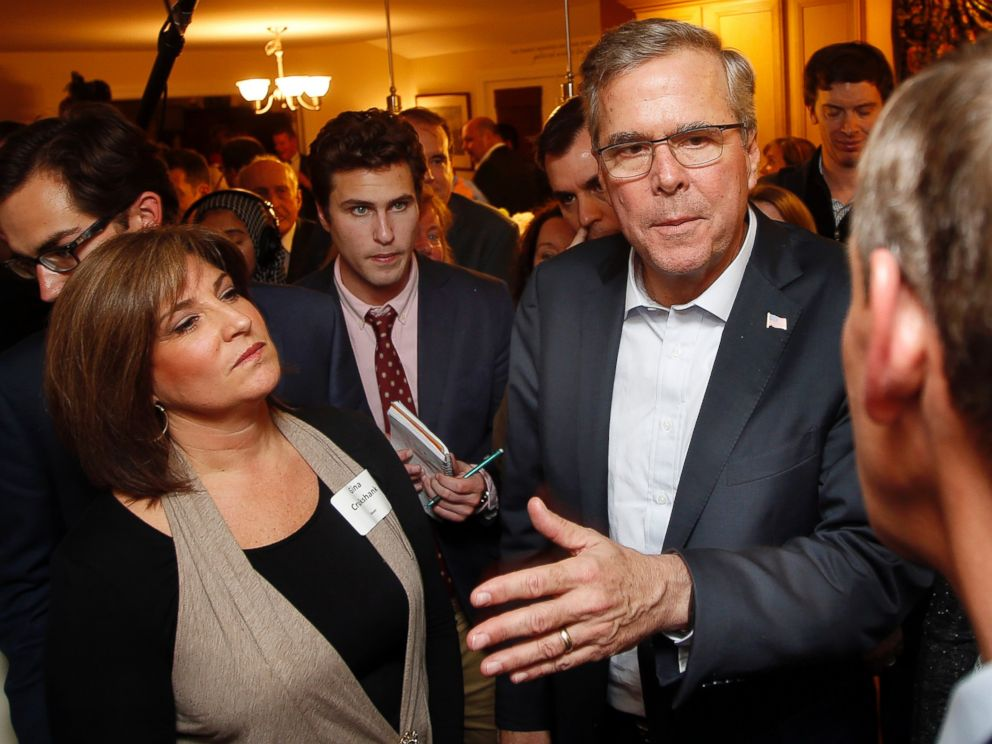 Former Florida Gov. Jeb Bush speaks with area residents at a packed house party Friday, March 13, 2015, in Dover, N.H.