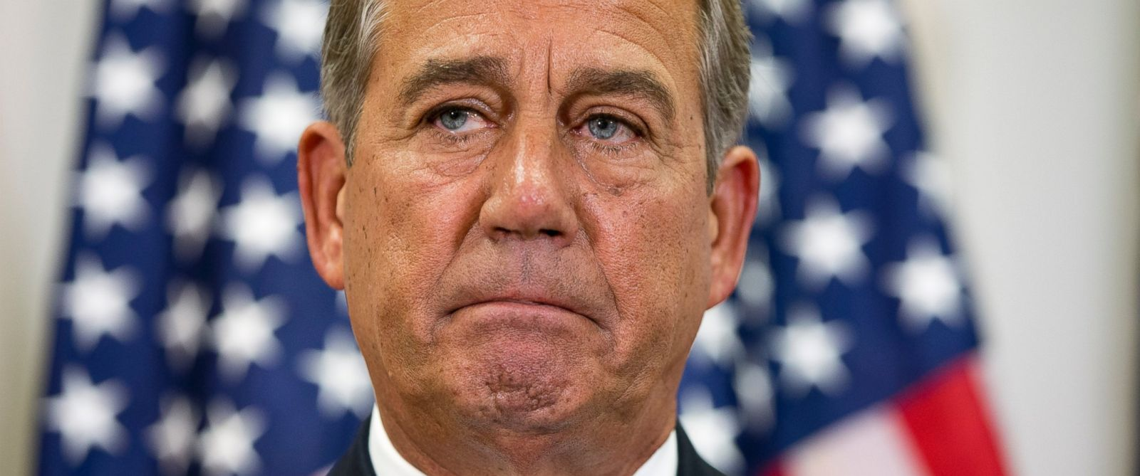 PHOTO: John Boehner pauses during a news conference with members of the House Republican leadership on Capitol Hill in Washington., Sept. 9, 2015.