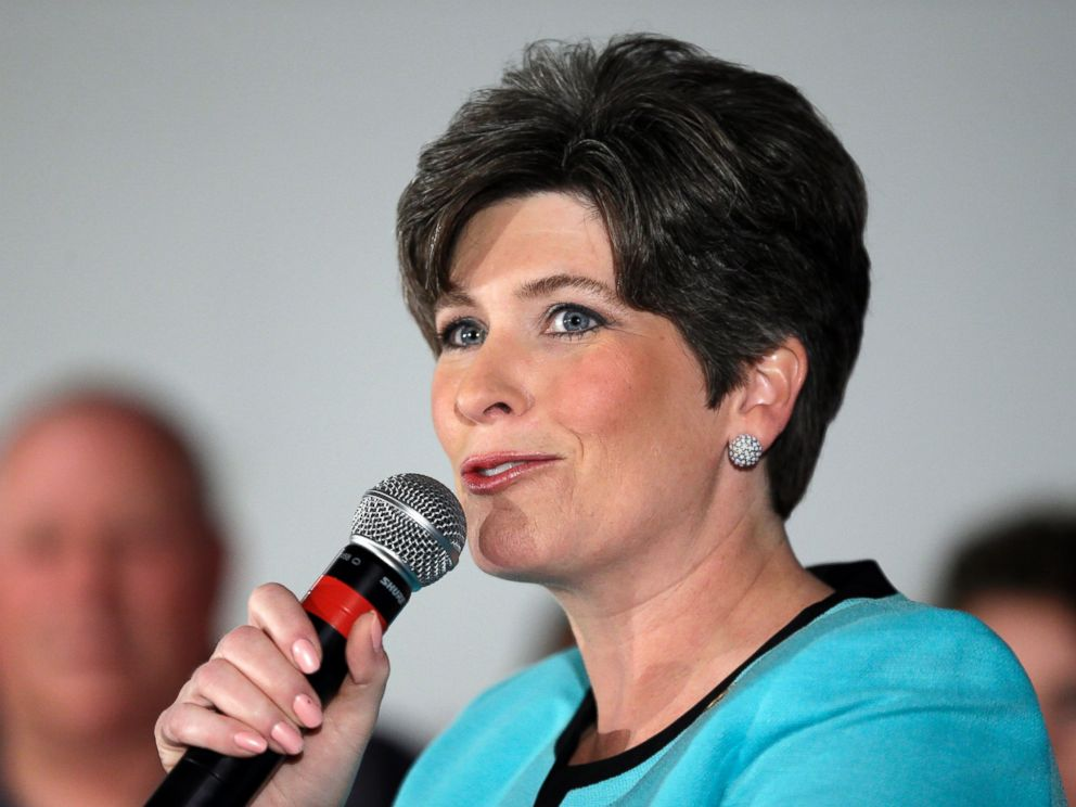 PHOTO: FILE - In this June 3, 2014 file photo Iowa Republican Senate candidate Joni Ernst speaks in Des Moines, Iowa.