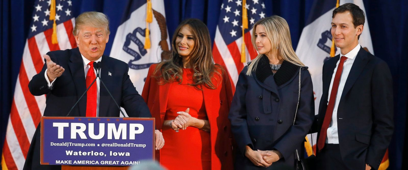 PHOTO: Donald Trump, accompanied by wife Melania, daughter Ivanka, and her husband Jared Kushner, speaks during a campaign event in Waterloo, Iowa, Feb. 1, 2016.