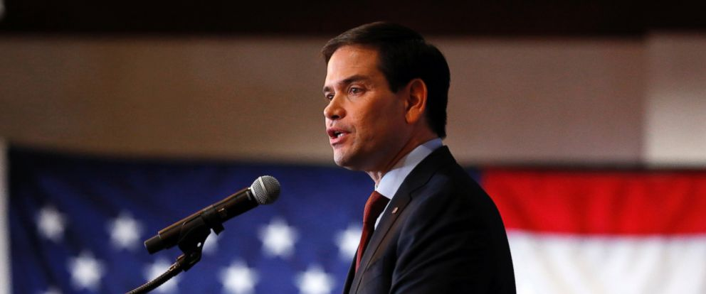 PHOTO: Republican presidential candidate Sen. Marco Rubio, R-Fla., speaks at a caucus night celebration, Feb. 1, 2016, in Des Moines, Iowa.