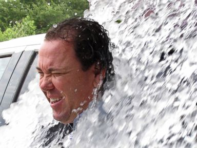 PHOTO: U.S. Rep. Vance McAllister is doused as he takes the strikeout ALS ice bucket challenge after qualifying for his re-election bid Friday, Aug. 22, 2014, in Baton Rouge, La.