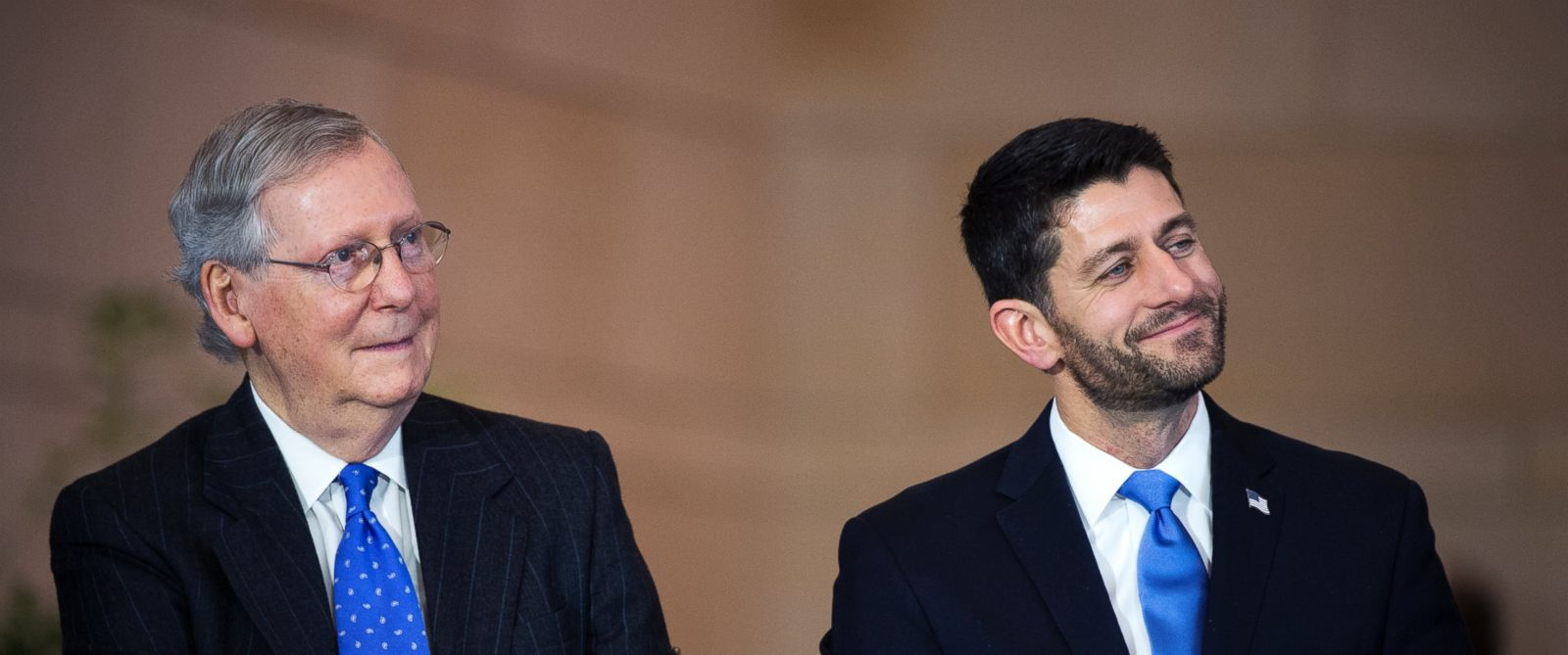 PHOTO: Mitch McConnell and Paul Ryan attend a bust unveiling ceremony for former Vice President Dick Cheney in the Capitol Visitor Centers Emancipation Hall, Dec. 3, 2015.