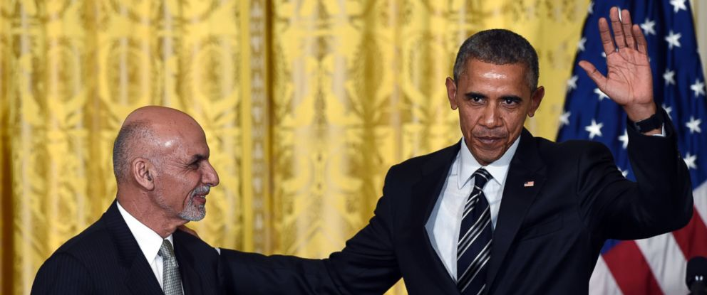 PHOTO: President Barack Obama waves as he and Afghanistans President Ashraf Ghani conclude their news conference in the East Room of the White House in Washington, Tuesday, March 24, 2015.