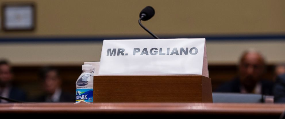 PHOTO: The name plate for witness Bryan Pagliano, former senior adviser, Information Resource Management, State Department, who did not appear, sits on the witness table on Capitol Hill in Washington, Sept. 13, 2016.