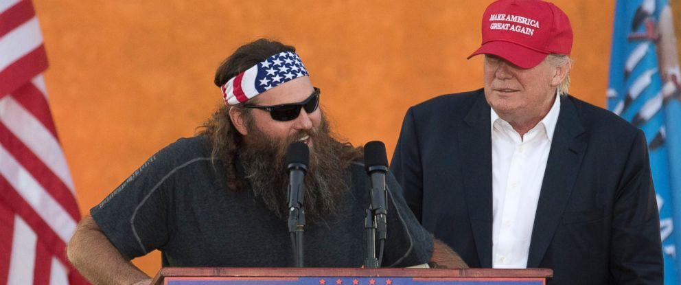 PHOTO: Television personality Willie Robertson speaks on behalf of Republican presidential candidate Donald Trump during a campaign rally at the Oklahoma State Fair, Friday, Sept. 25, 2015, in Oklahoma City.