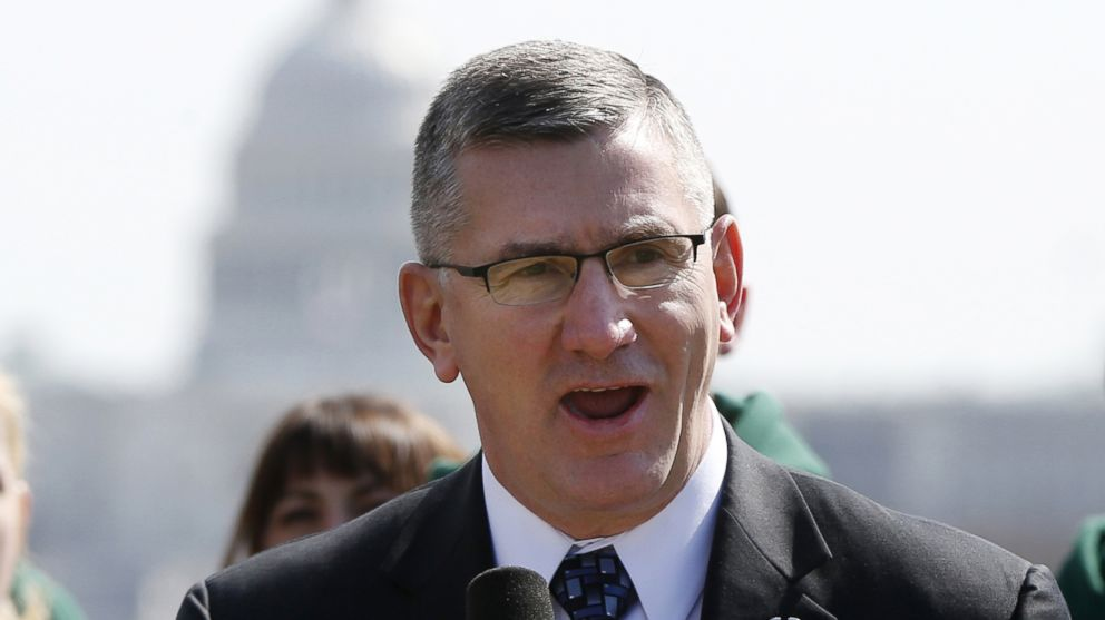 PHOTO: In this March 27 file photo, Sen. John Walsh, D-Mont., speaks on the National Mall in Washington.
