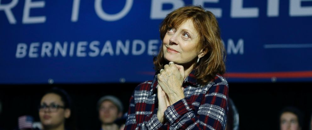 PHOTO: Actress Susan Sarandon watches as Democratic presidential candidate, Sen. Bernie Sanders, I-Vt, speaks during a campaign event at Music Man Square, Wednesday, Jan. 27, 2016 in Mason City, Iowa.