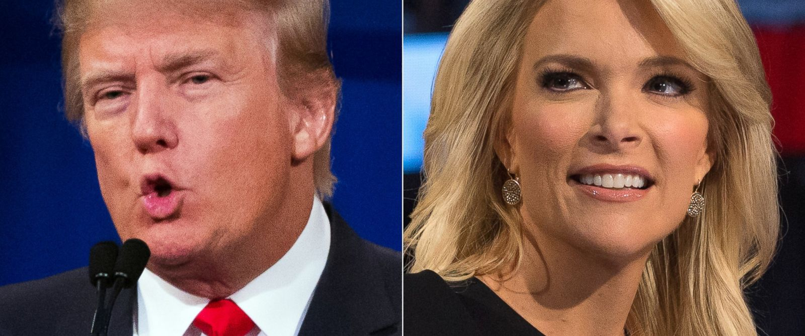 PHOTO: This combination made from Aug. 6, 2015 photos shows Republican presidential candidate Donald Trump, left, and Fox News Channel host and moderator Megyn Kelly during the first Republican presidential debate at the Quicken Loans Arena, in Cleveland.