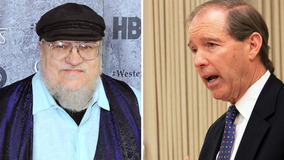 PHOTO: Left, author George R.R. Martin arrives at the San Francisco Premiere For HBOs Game Of Thrones Season 3; right, U.S. Sen. Tom Udall, D-N.M., is seen in New Mexico during a round table discussion in Albuquerque, N.M., April 14, 2014.