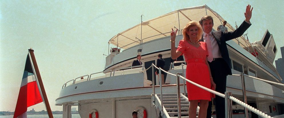 PHOTO: A file photo from July 1988 showing real estate developer Donald Trump with former wife Ivana as they stood on their luxury yacht The Trump Princess in New York City. Trump paid the Sultan of Brunei $30 million for the nearly 300-foot yacht.