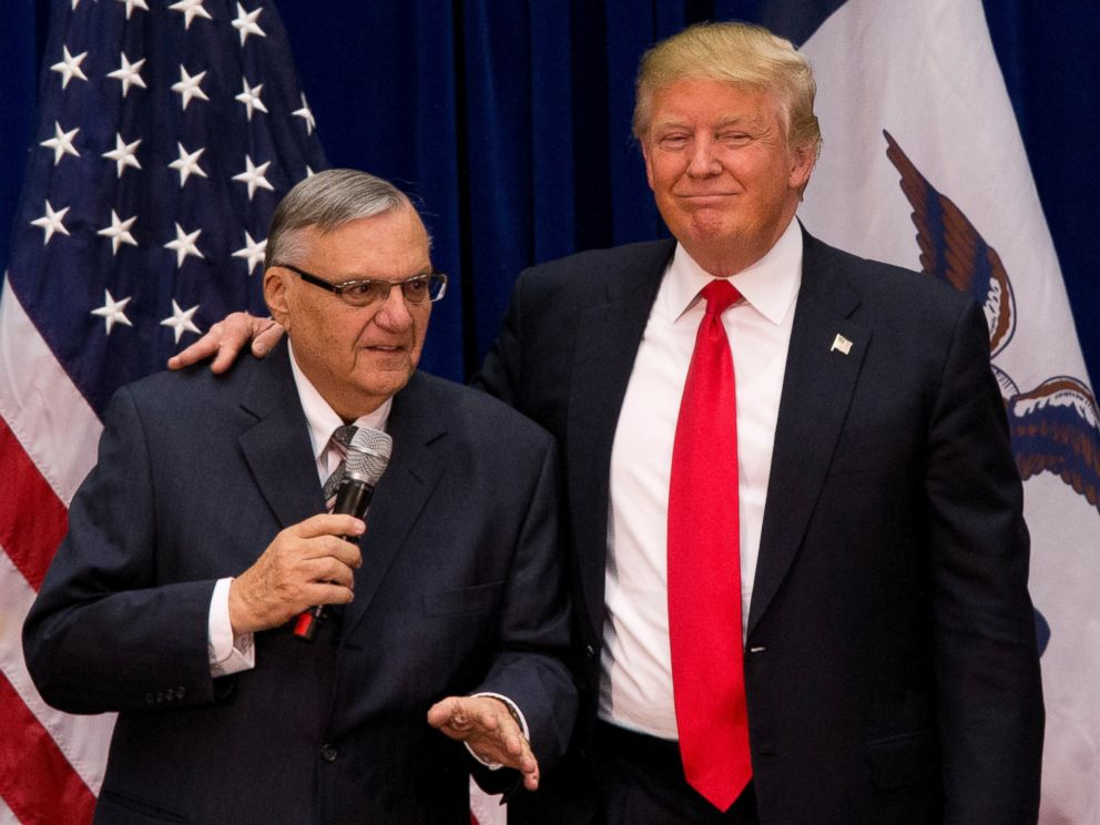 PHOTO:Donald Trump is joined by Maricopa County, Ariz., Sheriff Joe Arpaio at a campaign event at the Roundhouse Gymnasium, Jan. 26, 2016, in Marshalltown, Iowa.