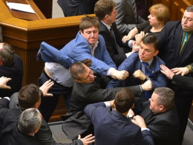 Photos: Brawl Erupts in the Ukrainian Parliament