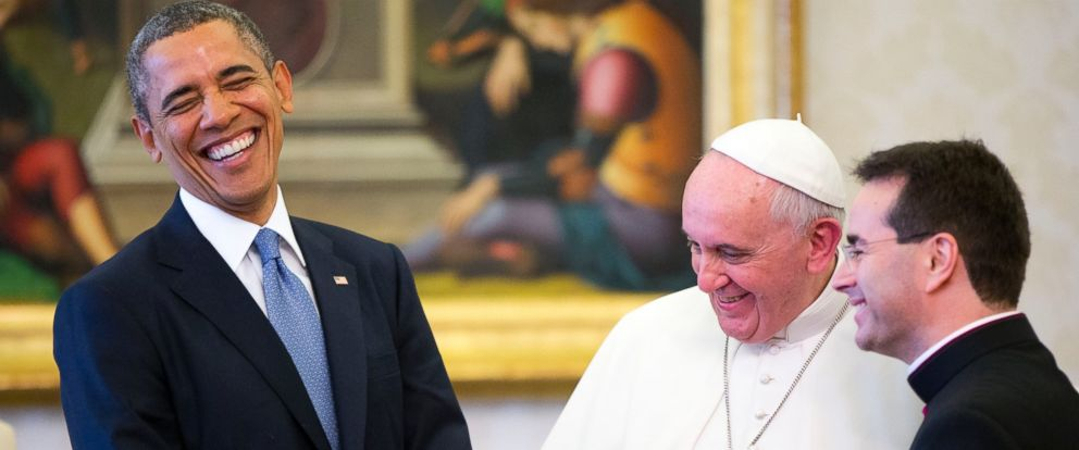 PHOTO: President Barack Obama smiles during his meeting with Pope Francis, March 27, 2014 at the Vatican.