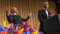 PHOTO: President Barack Obama, right, brings out actor Keegan-Michael Key from Key & Peele during his remarks at the White House Correspondents Association dinner at the Washington Hilton on Saturday, April 25, 2015, in Washington.