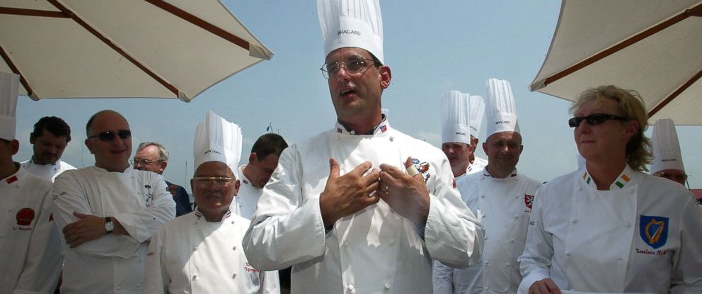 PHOTO: Chef to former president George W. Bush , Walter Scheib, is seen in this file photo greeting chefs from around the world at the Chesapeake Bay Maritime Museum in St. Michaels, Md, July 27, 2004.