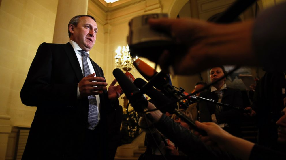 PHOTO: Ukraines Foreign Minister Andrii Deshchytsia speaks to reporters after a meeting with U.S. Secretary of State John Kerry and other foreign ministers at the Quai d Orsay in Paris, Wednesday, March 5, 2014.