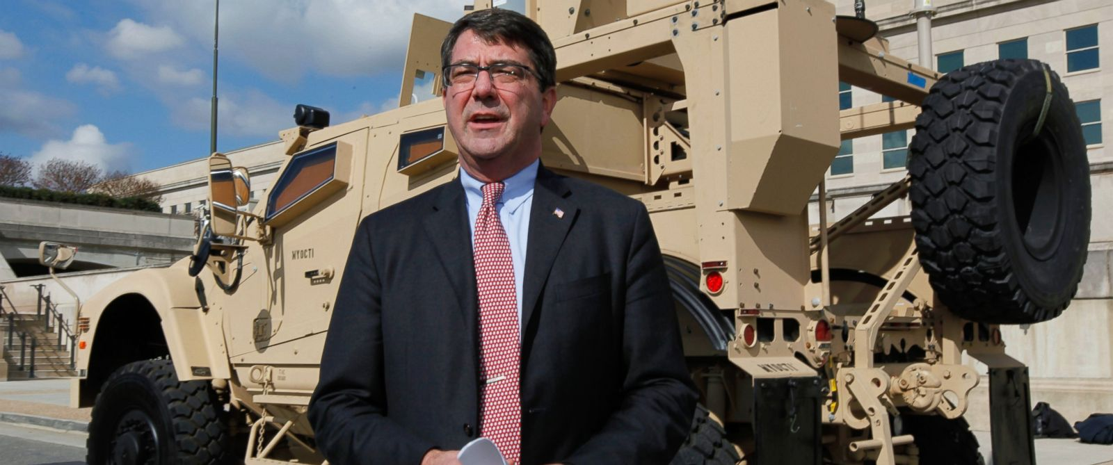 PHOTO: Undersecretary of Defense for Acquisition, Technology and Logistics Ashton Carter speaks during the presentation of the MRAP all terrain vehicle (M-ATV) at the Pentagon, Nov. 2, 2009, in Washington.