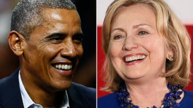 PHOTO: From left, President Barack Obama in Philadelphia,and Hillary Clinton in Auburn Hills, Mich.