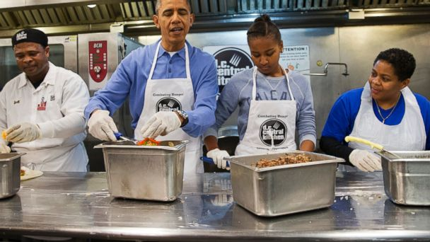 AP barack obama sasha dc central kitchen jt 140120 16x9 608 Obama Makes Burritos For Needy on MLK Day