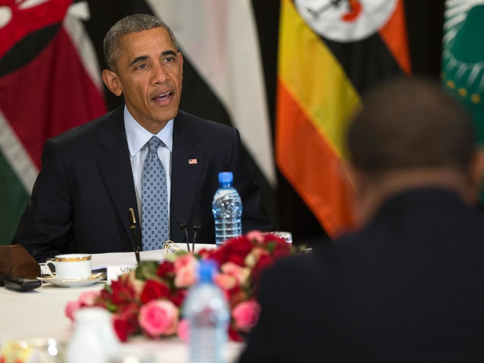 PHOTO: President Barack Obama speaks during a multilateral meeting on South Sudan and cointerterrorism issues with Kenya, Sudan, Ethiopia, the African Union and Uganda, July 27, 2015, in Addis Ababa.
