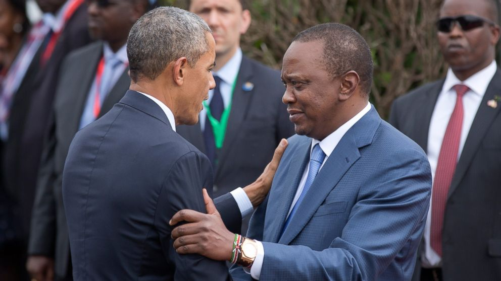 PHOTO: President Barack Obama is greeted by Kenyas President Uhuru Kenyatta, right, on his arrival at State House in Nairobi, Kenya, July 25, 2015.
