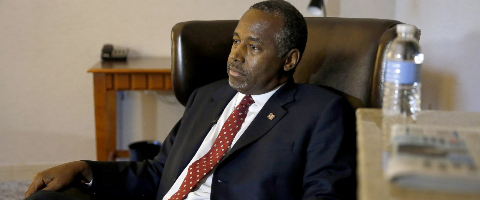 PHOTO: Republican presidential candidate Ben Carson discusses faith during an exclusive interview with The Associated Press at a hotel in Broomfield, Colo.
