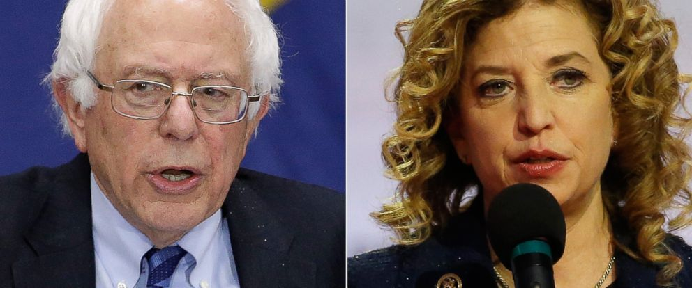 PHOTO: Pictured (L-R) are Democratic presidential candidate, Sen. Bernie Sanders in Fort Wayne, Indiana, May 2, 2016 and Debbie Wasserman Schultz in Milwaukee, Feb. 11, 2016.