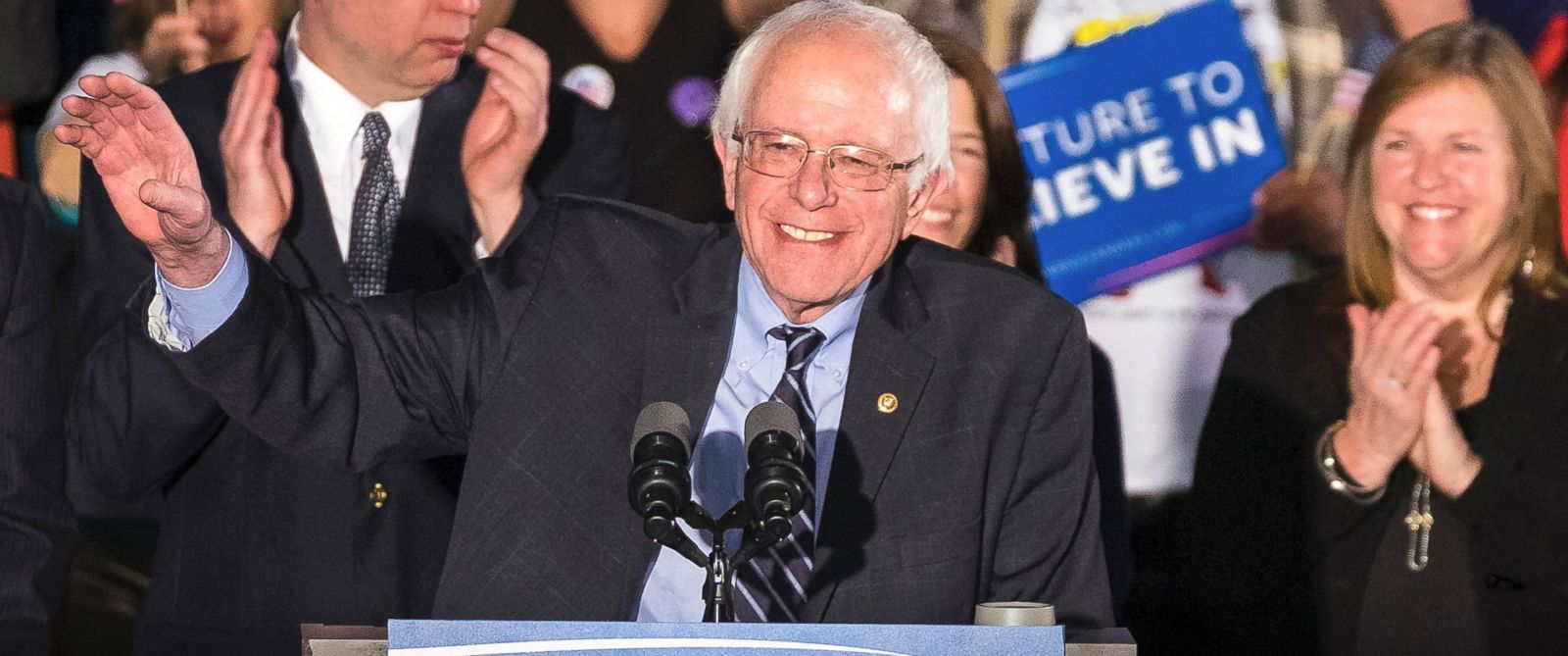 PHOTO: Democratic presidential candidate, Sen. Bernie Sanders smiles as he speaks at his primary night rally, Feb. 9, 2016, in Concord, N.H.