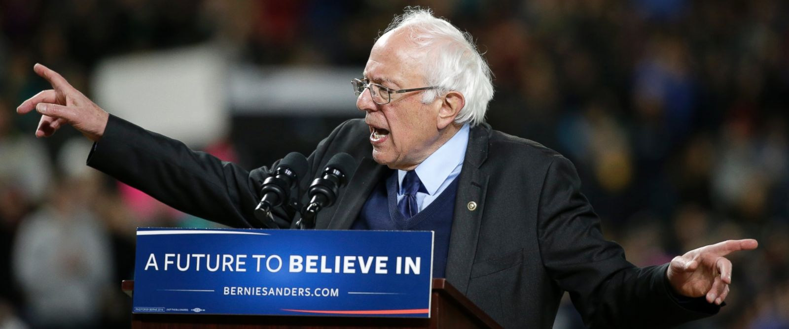 PHOTO: Democratic presidential candidate Sen. Bernie Sanders, I-Vt., speaks at a rally, March 25, 2016, in Seattle.