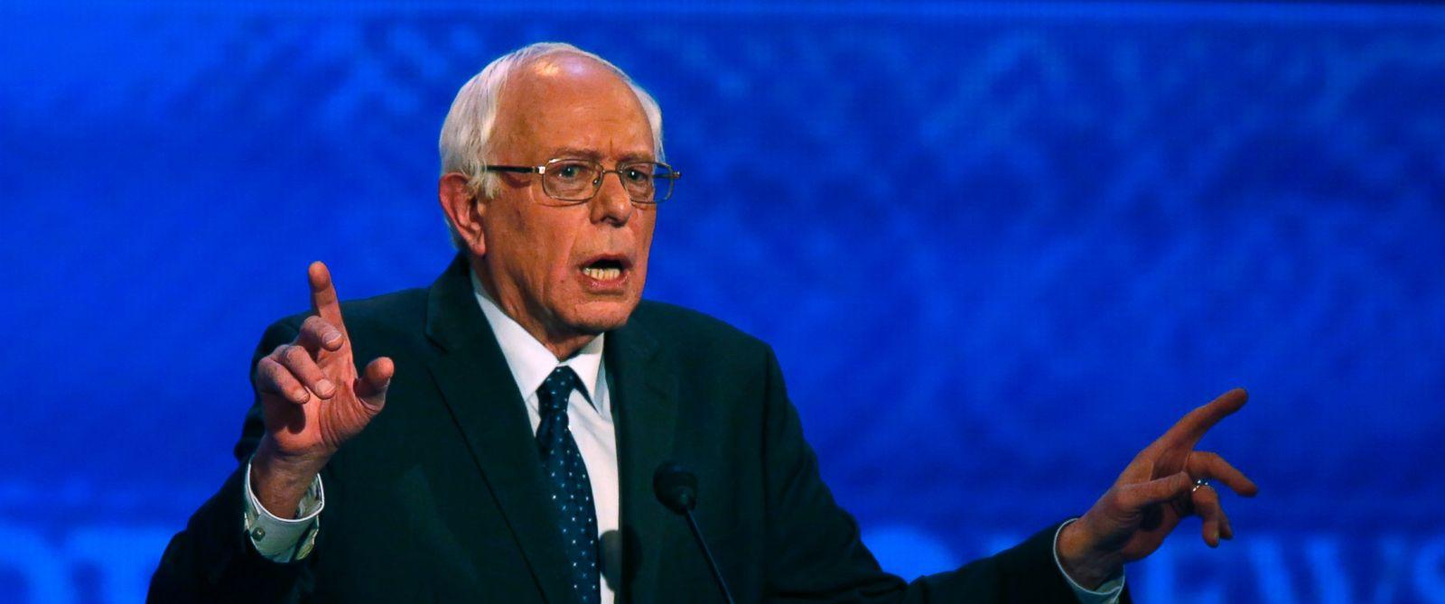 PHOTO: Bernie Sanders speaks during a Democratic presidential primary debate, Dec. 19, 2015, at Saint Anselm College in Manchester, N.H.