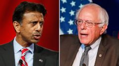 PHOTO: Republican presidential candidate, Louisiana Gov. Bobby Jindal in Columbus, Ohio, Aug. 21, 2015. | Democratic presidential candidate, Sen. Bernie Sanders, I-Vt, in Minneapolis, Aug. 28, 2015.