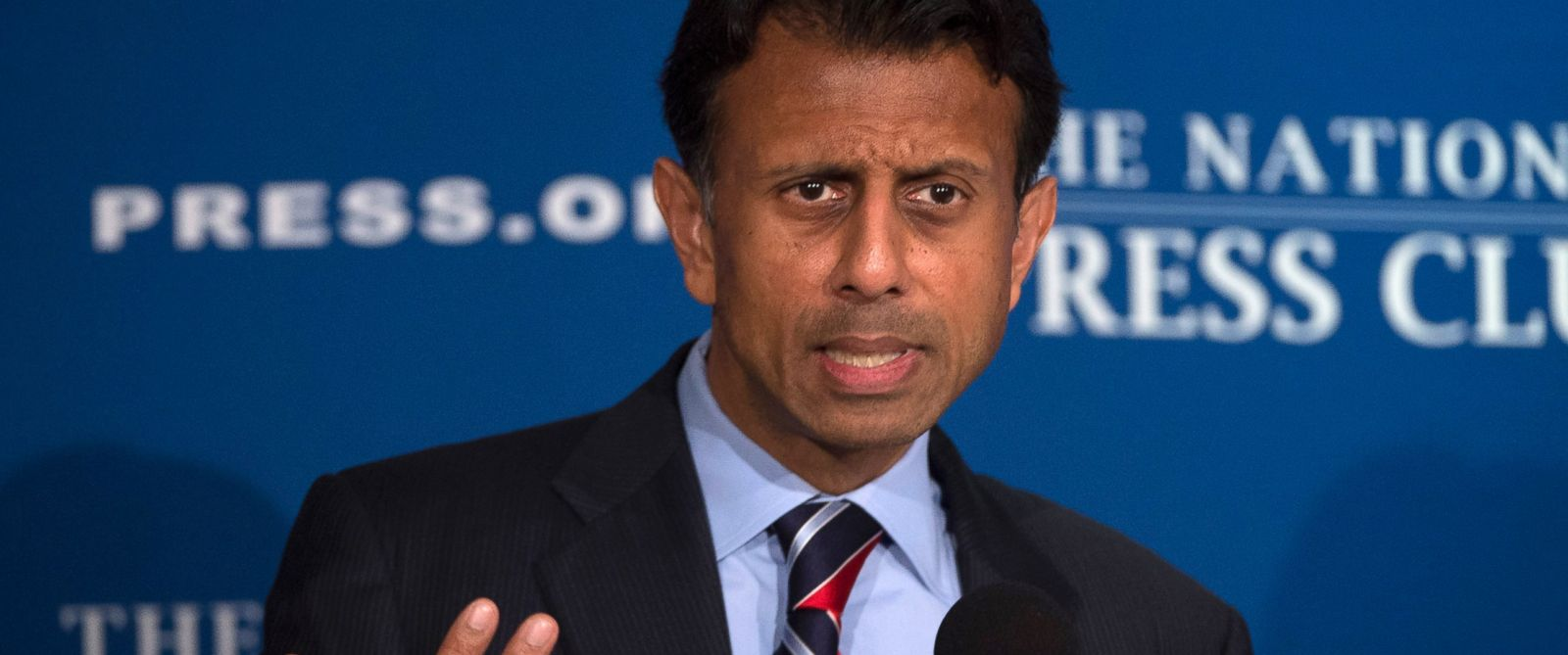 PHOTO: Republican presidential candidate, Louisiana Gov. Bobby Jindal speaks at the National Press Club in Washington, Sept. 10, 2015.