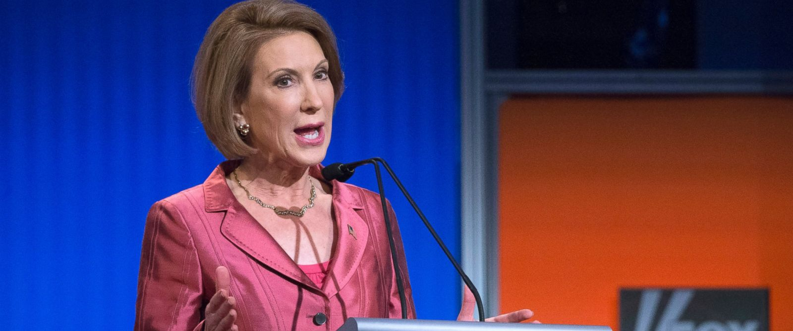 PHOTO: Republican presidential candidate Carly Fiorina speaks during a FOX News Channel pre-debate forum at the Quicken Loans Arena, Aug. 6, 2015, in Cleveland.