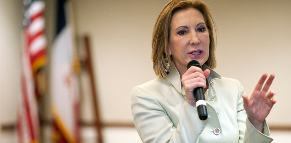 PHOTO: Potential GOP presidential candidate Carly Fiorina speaks at the Council Bluffs Public Library on Tuesday, April 21, 2015 in Council Bluffs, Iowa.