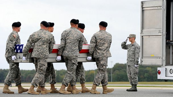 PHOTO: An Army carry team moves a transfer case containing the remains of Pfc. Cody J. Patterson, Oct. 9, 2013 at Dover Air Force Base, Del