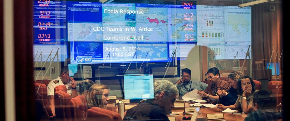 PHOTO: U.S. Centers for Disease Control and Prevention officials have a conference call on Ebola