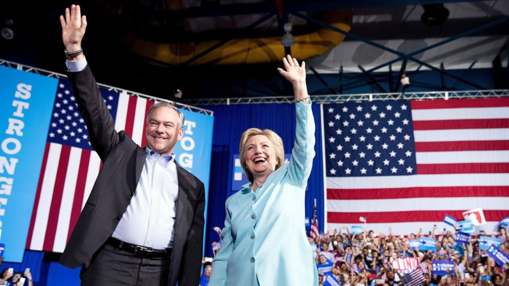 PHOTO: Democratic presidential candidate Hillary Clinton and Sen. Tim Kaine arrive at a rally at Florida International University Panther Arena in Miami, July 23, 2016. Clinton has chosen Kaine to be her running mate.