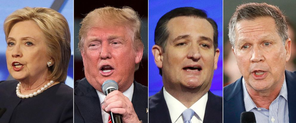 PHOTO: Pictured (L-R) are Hillary Clinton in Miami, March 9, 2016, Donald Trump in Tampa, Fla., March 14, 2016, Ted Cruz in Miami, March 10, 2016 and John Kasich in North Canton, Ohio, March 14, 2016.