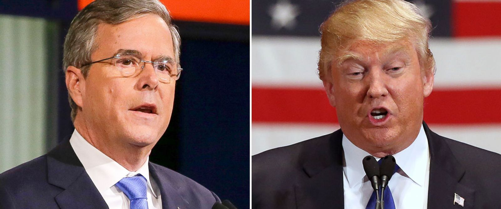 PHOTO: Jeb Bush, left, and Donald Trump.