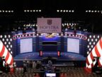 PHOTO: The stage where the presidential debate between Hillary Clinton and Donald Trump will be held  in Hempstead, New York, Monday, Sept. 26, 2016.