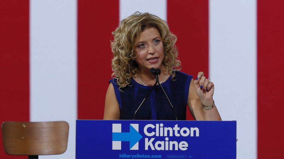 PHOTO: DNC Chairwoman, Debbie Wasserman Schultz speaks during a campaign event for Democratic presidential candidate Hillary Clinton during a rally at Florida International University Panther Arena in Miami, July 23, 2016.